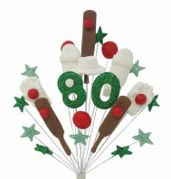 Cricket 80th birthday cake topper decoration - free postage